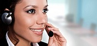 isolated portrait of a beautiful helpdesk or support line operat