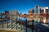 England, Greater Manchester, Salford Quays  NV apartments, Detroit Bridge and Victoria Harbour building located along the Manchester Ship Canal in Sal...