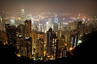 view over hong kong city at night from the peak hksar china asia