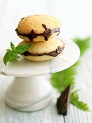 Vanilla Whoopie Pies with Dark Chocolate Ganache, On Marble Pedestal Dish