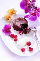 Mini chocolate cake filled with chocolate sauce, raspberries