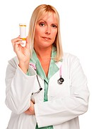 Attractive Female Doctor with Blank Prescription Bottle