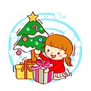 Illustration of a little girl holding gift box against Christmas tree