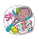 Illustration of tennis equipment for sale