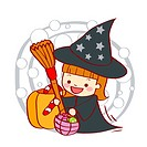 Illustration of a girl wearing witch´s clothing and holding broom