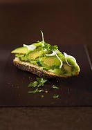 Poppy seed baguette with cucumber, avocado, kiwi and coriander
