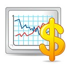 Illustration of visual screen displaying business graph with dollar sign