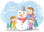 Illustration of family playing with snowman
