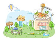 Plate of noodles on building with hot air balloon in the air