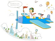 Illustration of man in airplane with a dog