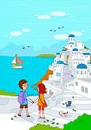 Couple At Santorini, Mediterranean Sea, Cyclades Island, Greek Islands, Greece, Europe