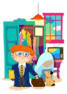 Illustration of businessman and his pet