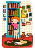 Illustration of a boy and bookshelf