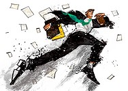 Illustration of businessman running