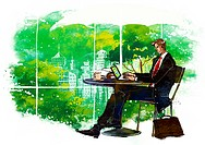 Illustration of well_dressed businessman using laptop