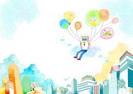 Illustration of man flying with balloons