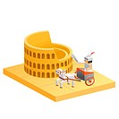 People Riding On Horse Cart At Colosseum
