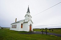 lonely church at seashore in Nesseby northern Norway
