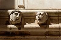 High relief of face, ´Katedrala Sv  Jakova´ St  James Cathedral, town of Sibenik, Dalmatia region, Croatia, Europe.