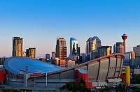 Calgary skyline with Calgary tower and ScotiaBank Saddledome, Calgary, Alberta, Canada