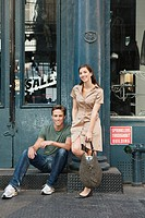 Portrait of couple in street