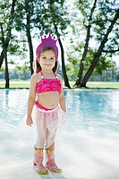Girl 3_4 in costume standing in water