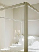 Close up of bed in showcase interior of bedroom