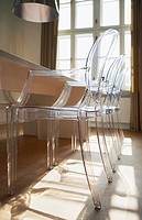 Close up of translucent chairs