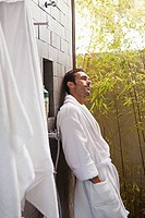 Man in outdoor shower