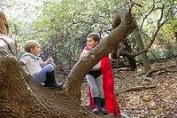 Two boys 5_6 in costumes sitting on log in forest