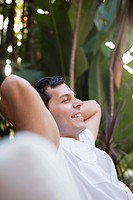Portrait of man relaxing in spa (thumbnail)