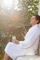 Man relaxing in spa