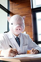 Pig Head Nutritionist Writing With Pen On Paper