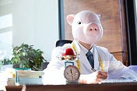 Pig Head Nutritionist At Working Desk With Weighing Scale