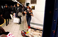 Subway , musician ,manhattan , new york city
