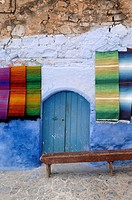 Display of Moroccan Carpets or Rugs at Chefchaouen Morocco