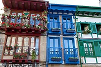 Balconies in Old town, Hondarribia, Guipuzcoa, Basque Country, Spain