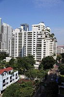 Highrise apartments, Sukhumvit, Bangkok, Thailand, Asia  Sukhumvit is an upscale neighborhood in Bangkok