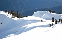 Snow banks at Mount Seymour in North Vancouver, British Columbia, Canada.