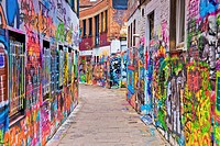 Werregarenstraatje also called graffiti street in the center of the city of Ghent, Belgium, Europe