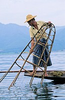 Fisherman on Inle Lake at dawn, Myanmar