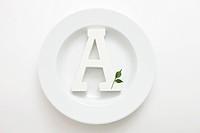Alphabet A on Plate