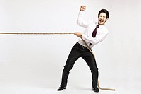 Businessman doing Tug Of War