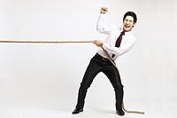 Businessman doing Tug Of War