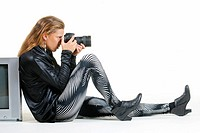 young Fashionable woman with camera