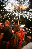 'Correfoc', Feast of Feasts fire demons and Sant Joan Palma Mallorca Balearic Islands Spain
