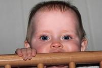 Baby in playpen, female, 7 to 9 month / Baby im Laufstall, Mädchen, 7 bis 9 Monate alt