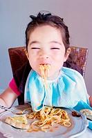 Little girl spaghetti
