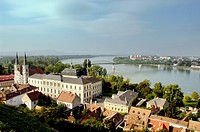 Hungary, Esztergom, The Danube Bend, from The Primate´s Basilica of the Blessed Virgin Mary taken into heaven and St Adalbert, the Jesuit Church on th...