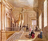 Natural history at Montagu House. Staircase near the entrance of the old British Museum in Montagu House, London, UK. This house contained the collect...